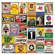 26 Pieces Gas And Oil Tin Signs Retro Vintage Metal Sign For Home Man Cave Ga...