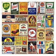 24 Pieces Gas And Oil Tin Signs Retro Vintage Metal Sign For Home Man Cave Ga...