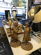 Pair Of Vintage Hand Carved Wood Paul Revere Minutemen Colonial Lamps With Shade