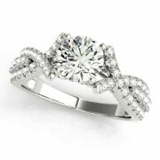 0.90 Ct Round Diamond Engagement Ring Solid 14k White Gold Rings Size 5 6 7 8 9
