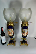 Pair Xl French Limoges Porcelain Table Lamps Romantic Decor Glass Shade