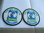 Wisconsin Trout Fishing Pair 2 Old Cloth Patches Badges 70s 80s Sew Iron On Ed