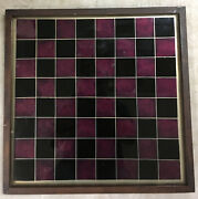 Antique Folk Art Game Board Checkers Chess Reverse Painted Glass Gold Foil