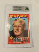 Terry Bradshaw Signed 1971 Topps Rookie Card Beckett 156 Rc Steelers Auto