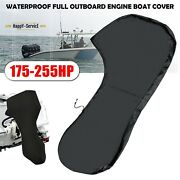 420d Black Waterproof Full Outboard Engine Boat Cover Fit Up 175-225hp Motorboat