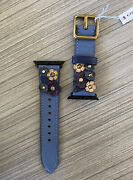 Nwt Coach Tea Rose Floral Applique Strap Stone Blue For Apple Watch 38mm W1644