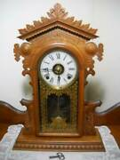 Rare E.n. Welch Walnut Parlor Clock Made For Colby Wringer Co. Circa 1880 Nice