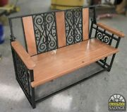 Bench, 60 W, Custom Cast Iron And Mahogany Wood, Salvage And Upcycled
