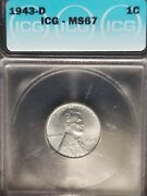 1943 D Steel Wheat Penny Icg Ms67 - Priced At 66+ - Great Value