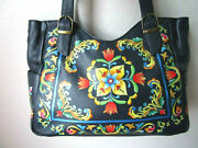 Anuschka Tuscan Tiles Navy Hand Painted Leather Shopper With Side Pockets - Nwt