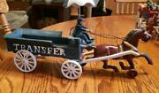 Beautiful Vintage Cast Iron Horse And Carriage