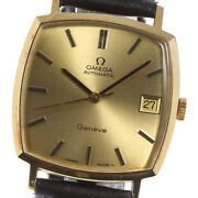 Omega Geneve 18k Yellow Gold Cal.1012 Gold Dial Automatic Menand039s Watch_619433