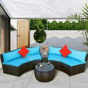 4-piece Patio Furniture Set Outdoor Half-moon Sectional Wicker Sofa Pillow Table