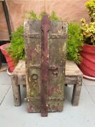 Antique Indian Wooden Handcrafted Window Door With Knocker And Latch Wall Decor