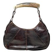 Ysl Tom Ford Era Mombasa Aged Leather Hobo Bag With Horn Handle
