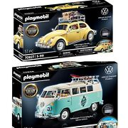Playmobil Volkswagen T1 Camping Bus And Beetle Lot - Special Limited Edition.