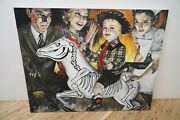 Original Oil Painting On Canvas W Book - Nuclear Family By Shannon Crawford