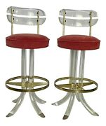Mid Century Modern Lucite Swivel Bar Stools By Hill Manufacturing - A Pair