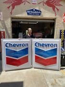 Original Chevron Gas Station Sign Pair 53andrdquox46andrdquo Monster Sized Signs
