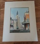 Vtg Martin Neeld Watercolor Painting New Orleans St. Louis Cathedral - Signed