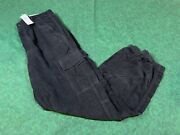 American Eagle Outfitters Aeo Black Corduroy High Rise Cargo Pants Size 10 Long