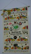 World Expo 88 Brisbane Australia Hessian Display With 71 Pins And Badges