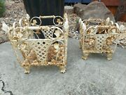 Set Of 2 Antique French Heavy Cast Iron Shabby Chic Garden Planters / Baskets