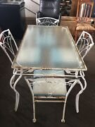 Vintage Woodard Mid Century- Orleans Wrought Iron 1 Table And 4 Chairs-old Glass