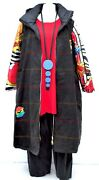 Plus Size Multicoloured Quilted/black Denim Hooded Winer Coat Bust 50-52 L-xl