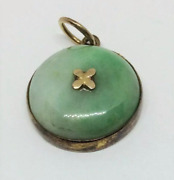 Chinese Antique Jadeite Pendant With 14k Gold Made In Early 20th Century