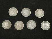 Lot Of 7 Early Canadian 5cent Silver Coins. Some Better Dates