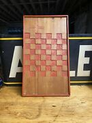 1800s Hand Painted Checkerboard Game Board Folk Art Country Primitive Carved