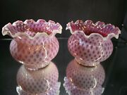 Pair Fenton Cranberry Opalescent Glass Honeycomb Gas Lamp Shades