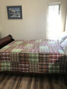 Patchwork Madras Plaid Brown Red Green Blue Full/queen Quilt 84x94 Multicolor