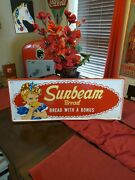 Sunbeam Bread/bakery Advertising Sign Pre 1960s Rare Great Condition