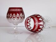 Pair Waterford Crystal Clarendon Ruby Red Brandy Glasses, New, Signed