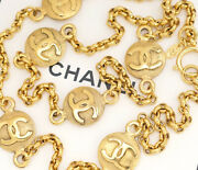 Cc Logos Coin Charm Necklace 35 Inch Long Gold Tone