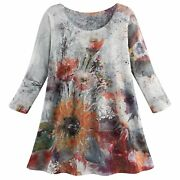 Et Lois Womenand039s Fall Flowers Tunic - 3/4 Sleeve Watercolor Floral Print Top