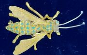 Large Vintage Bumble Bee Brooch / Pin 18kt Yellow Gold With Natural Emeraldswow