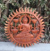 Bali Buddha Sun Lotus Wood Wall Plaque Relief Carving Sculpture 12