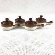 Set Of 4 Small Stoneware Brown Glazed Soup Crocks W/ Handles And Lids Vintage
