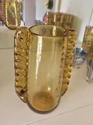 """Murano Amber Yellow 7.5"""" Vintage Winged Art Glass Vase With Side Fins Art Deco"""