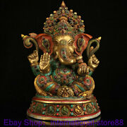 14.4 Old Tibet Copper Turquoise Gems 4 Arms Ganapati Ganesh Lord Buddha Statue