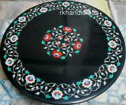 42 Inches Marble Dining Table Top Hand Crafted Stone Garden Table With Inlay Art