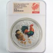 2017 Australia 1kg Silver Year Of The Rooster Gemstone Colorized Ngc Sp70 Er