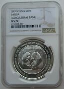 Ngc Ms70 China 2009 The Founding Of Agricultural Bank Panda Silver Coin 1oz