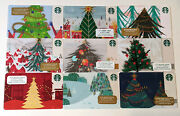 Lot Of 9 Decorated Christmas Trees Holiday Starbucks Card - 0