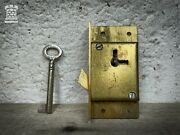 Reclaimed Brass Cabinet Lock Cupboard Chest Drawer Bolt Iron Key Old Antique