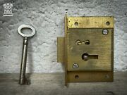 Old Reclaimed Brass Cabinet Lock Cupboard Chest Drawer Bolt Iron Key Old Antique