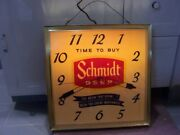 Vintage Schmidts Beer Advertising Light Up Clock Tel-a-sign 19x19x4 1/4 Inches
